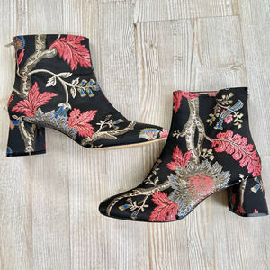 ZARA Embroidered Jacquard Ankle Boots